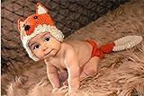 huihuger 1Set LOVELY Neugeborene Baby Fotografie Requisiten Fuchs Outfit Mädchen und Junge Handgefertigt Baumwolle Gewinde Strickmütze (orange)
