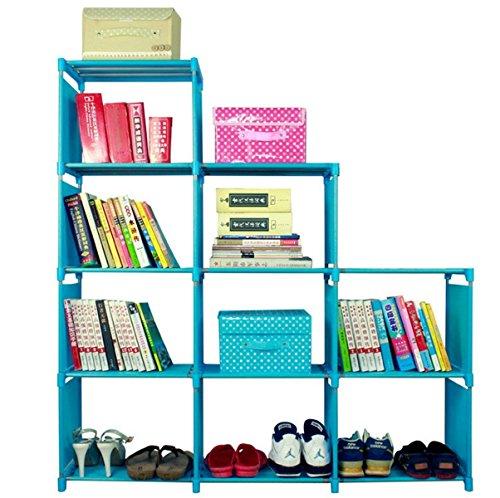 9-Cube Lagerung Organizer, vierflammig DIY Storage Cube Closet Organizer Regal Bücherregal Bücherregal Display Ablagen Speicher für Schlafzimmer Wohnzimmer, 120x 28x 125cm (Bücherregal Cube Speicher)