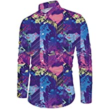 RAISEVERN Hombres botón Camisas Hawaiian Style Slim Fit Largo Tops Camisa Manga Vestido