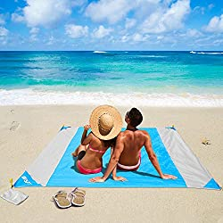 OUSPT Picknickdecke 210 x 200 cm, Stranddecke wasserdichte, Sandabweisende Campingdecke 4 Befestigung Ecken, Ultraleicht kompakt Wasserdicht und sandabweisend(Blau+Grau)