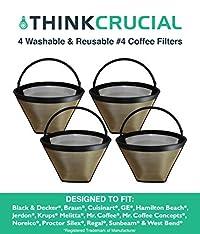 4 Coffee Filters # 4 Cone, Black & Decker, Braun, Cuisinart, GE, Hamilton Beach, Krups, Mr. Coffee, By Crucial Coffee