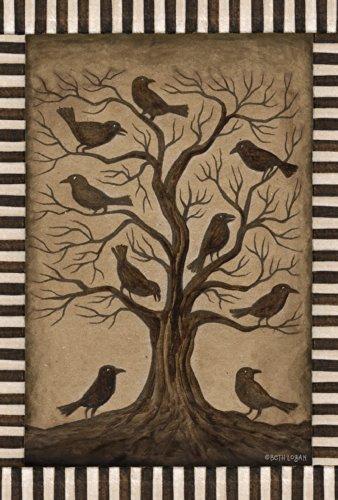 Toland Home Garten-Raben 71,1 x 101,6 cm Dekorative rustikale Schwarze Vogel gruselige Halloween Hausflagge (Halloween Designs Yard-art)