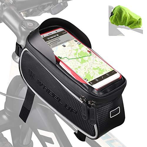 Tricodale Bolsa Bicicleta Cuadro Impermeable Soporte Movil Bicicleta 6.3' Teléfono Pantalla Táctil Bolsa Manillar Bici con Funda Protectora alforjas para Bicicleta de Montaña o Carretera (Negro)