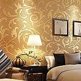 BIZHIGE Tapete Silber Goldener Damast Luxus Für Wände 3D Vlies Wandverkleidung Wohnzimmer Schlafzimmer TV Hintergrunddekoration Wallpaper-280 × 180Cm