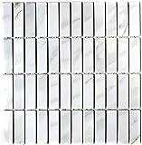 Mosaik Fliese Keramik Stäbchen Steinoptik weiß für BODEN WAND BAD WC DUSCHE KÜCHE FLIESENSPIEGEL THEKENVERKLEIDUNG BADEWANNENVERKLEIDUNG Mosaikmatte Mosaikplatte