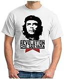 OM3 - Che Guevara - T-Shirt Cuba Revolution Hasta la Victoria Siempre Fidel Castro Rum Cigars, M, Weiß