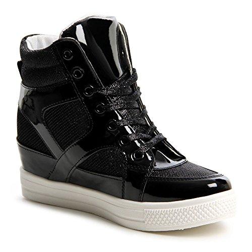 topschuhe24 601 Damen Sneaker Keilabsatz Hidden Wedges Schwarz