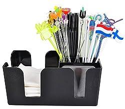 Generic arrival Bar / KTV / tea shop multifunctional tissue boxes straw box / chopsticks wine bar storage box Black