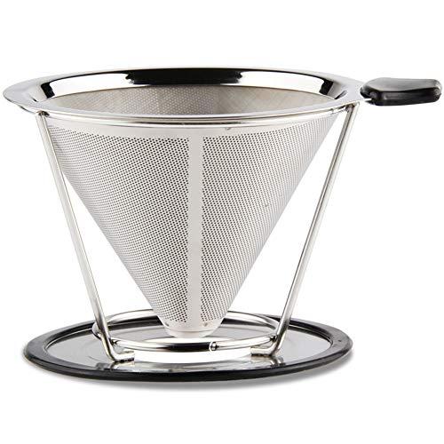 Sivaphe wiederverwendbarer Edelstahl Kaffeefilter Kegel Kaffeefilterhalter Metall Coffee Dripper...