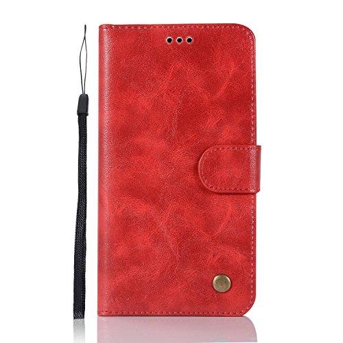 Chreey Lenovo Vibe P2/Lenovo P2 Hülle, Premium Handyhülle Tasche Leder Flip Case Brieftasche Etui Schutzhülle Ledertasche, Rot