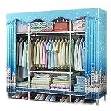 NZ-Wardrobe Kleidungs-Speicher-Schlafzimmer-Hängen, verdicktes Oxford-Tuch-Stahlrohr-Kleiderschrank-Speicher-Schrank Hohe Kapazitäts-Tuch-Kleiderschrank-Kleidungs-Speicher, Blue1_57x18x65inch