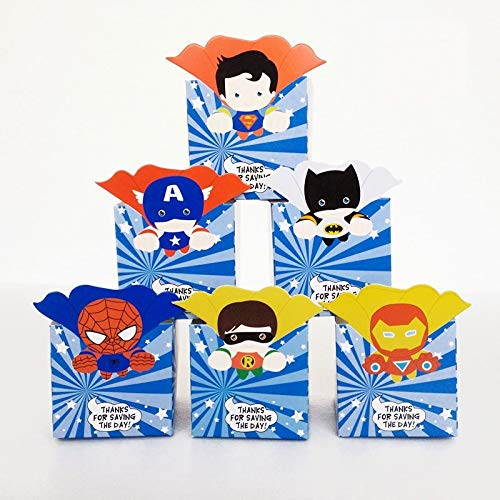Tyro Superhero Avengers Party Supplies Candy Box Baby Shower Boy Candy Boxes Baby Gift Box Kids Birthday Party Decoration 12pcs/Lot