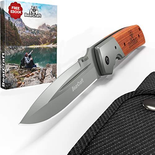 BearCraft Klappmesser Extra Lang mit **GRATIS eBook** | Scharfes Outdoor Survival Taschenmesser |...