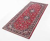Echter Orientteppich aus Keshan Läufer mit Schah Abbas Muster Original Perserteppich in Rot, Größe: 75x195 cm