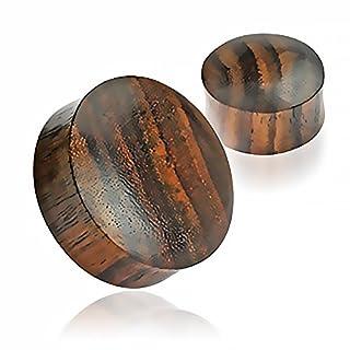 Holz Plug Ohr Flesh Tunnel Wood 3-50mm Ear Plug Sattle Fit Double Flared Organic dunkelbraun 5 mm