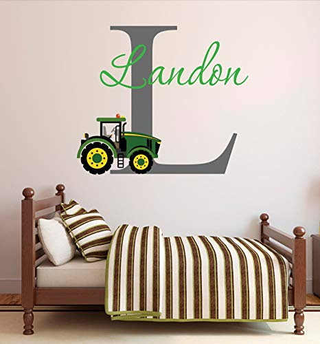 Tiukiu Personalized Name Wall Decal Green Farm Tractor Wall Decal Tractor Baby Boy Nursery Wall Decor Large Size -