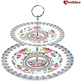 Archies Two Tier Floral Border Printed Cake/ Desert/ Pastry Serving Stand | Multipurpose Stand (H : 22.3 cms)