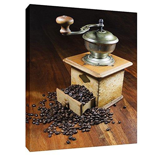 Modern Picture Leinwanddruck Leinwand Kaffeebild Kaffeebohnen Espresso Küchenbild Kaffeemühle 50 x 70 cm - Espresso Leinwand