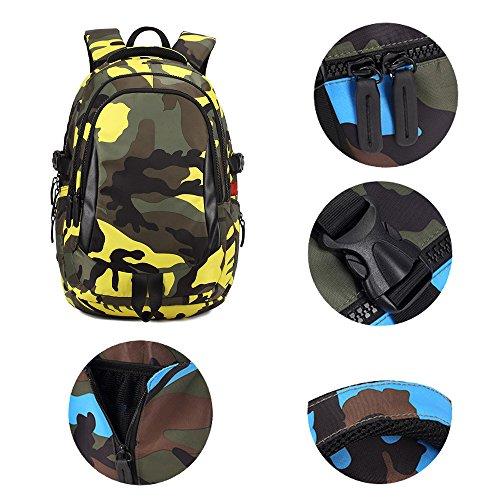 BOZEVON Jungen Mädchen Wasserdichte Rucksack für Kinder Unisex Schulrucksäcke Rucksack für Reisen, Wandern Gelb-L