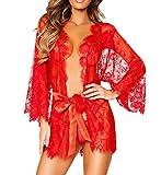 Rosennie Damen Dessous Babydoll Nachtwäsche Spitze Unterwäsche Transparente Robe Nachtwäsche Mantel Und G-String (Asiatisch S, Rot)
