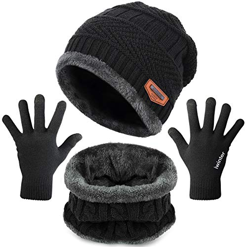Petrunup Hat Circle Schal und Handschuhe Set Herren Damen Touchscreen Handschuhe Nackenwärmer Slouch Mütze Schwarz