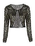 PrettyGuide Damen Clubwear Mesh Pailletten Lange Ärmel Sparkly Abend Bolero Shrug Gold XL/EU46-48