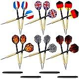Lictin 18 pcs Dartpfeile Darts Pfeile Set Dartpfeile Steeldarts Steel Dart mit Unterschiedlichen Nationalfahnen -