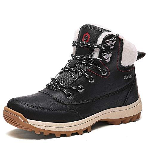 Mujer Botines Zapatos Botas Nieve Invierno Botas Trekking Zapatos Fur Forro Aire Libre Boots,Negro 36...
