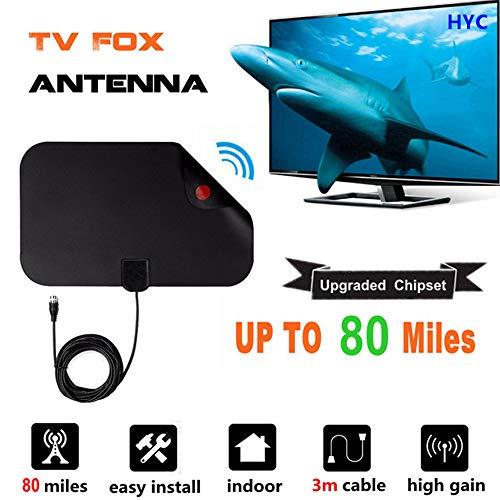 SEXTT TV Antenne, Lome Indoor TV Antenne über 80 + Miles Free View Digital HDTV Antenne verstärkt- Unterstützung 4K 1080P HD/VHF/UHF für Leben lokale Kanäle Broadcast - Hd Digital Radar