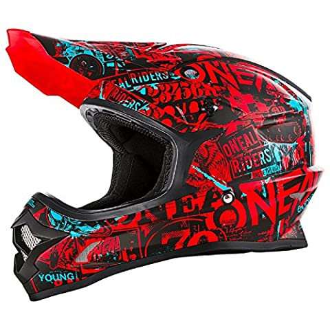 O'Neal 3Series Attack Motocross Helm Schwarz Rot MX Enduro Trail Quad Cross Offroad, 0623-13, Größe M