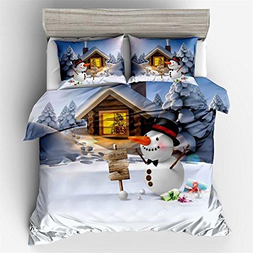 Ktlrr christmas decorations set copripiumino matrimoniale, simpatico pupazzo di neve con cappello di babbo natale, pezzi set di biancheria da letto con federe 2pcs no doudou, ornamenti di natale kids gift home decor, cotone, nyy63, king(225x225cm,3pcs)