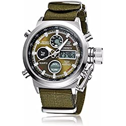 OHSEN Brand Dive LED Watches Men Sport Military Watch Canvas Brand