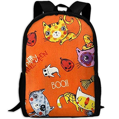 best& Canvas Halloween Trick Or Treat Scary Cats Laptop Backpack Cute School College Shoulder Bag for Women Men
