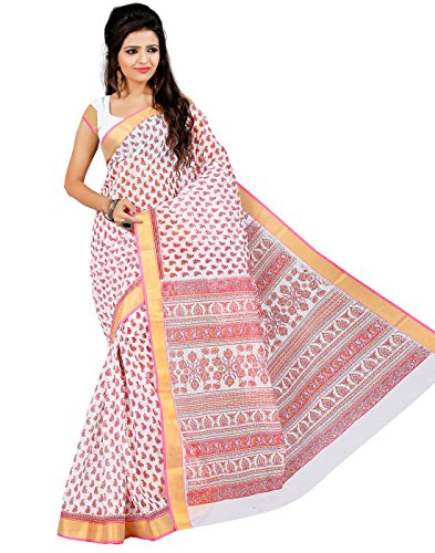 Roopkala Silks & Sarees Cotton Saree with Blouse Piece (Ma-1011 _White)