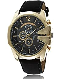 iSweven isweven Casual quartz large dial leather strap sports watch Analogue Black Unisex Wrist Watch W1014ee