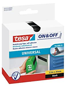 Tesa On and Off General Purpose Hook and Stick On Tape - 20mm x 250cm, Black