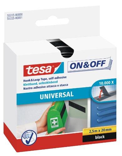 tesa On & Off Klettband (zum Aufkleben, Selbstklebendes Klettklebeband zur Befestigung leichter Gegenstände, 2 cm x 250 cm) schwarz -