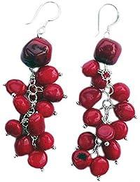 Rote Koralle Ohrringe grobe mit 925 Silber Stift