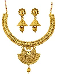 Jewels Galaxy Exclusive Delicate Design Gold Plated Traditional Necklace Set With Earrings For Women/Girls