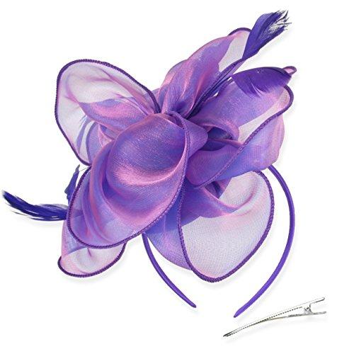 DRESHOW Fascinators Hut Cocktail Party Tee Kopfbedeckung Blume Mesh Organza Bänder Federn auf einem Stirnband und Gabel Clip für Mädchen und Damen -