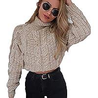 Suéter de Mujer Invierno suéter Mujer Cuello Alto Cuello Alto de Invierno Sexy para Mujer con cordón Suéter de Jersey de Punto Casual Jersey Mujer Invierno Suéter Camisa Blusa Tops QINGXIA_ZI