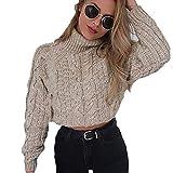 Hoher Kragen sexy nabelschnur Twist Casual Strickpullover, JiaMeng Damen Winter Warme Pullover Tops Winter Kurze Oberteile (S, Khaki)
