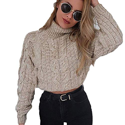 iHENGH Damen Winter Warm Bequem Hohe Kragen Sexy Stilvoll Umbilical Twist Lässig Slim Dicker Strickpullover ()