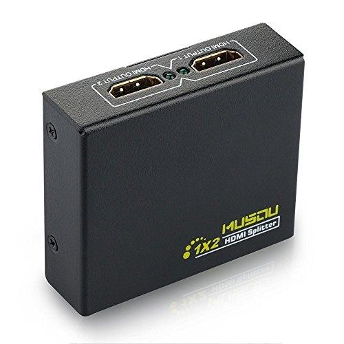 Musou Mini Splitter HDMI Répartiteur 2 Ports 1x2 avec 1 Entrée 2 Sorties High Speed Amplificateur HD 1080P & 3D Support Complet