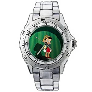 EPSP395 Pinocchio Wooden Figure Doll Show Stainless Steel Wrist Watch