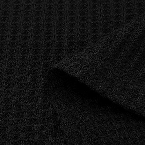 Winwintom femmes Femmes V-cou sweatshirt à manches longues pull chemise chemise bouton chemise T-shirt Noir
