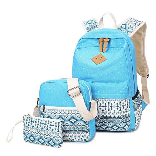 M-hwbb Canvas-Rucksack Schultaschen für Mädchen College-Laptop-Rucksack mit USB-Ladeanschluss Student Rucksack Travel Casual Daypacks passt 15,6 Zoll Notebook Blau (Farbe : Style C) Nb-computer