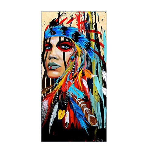 Indische Leinwand Kunst (YUHT Moderne Leinwand Kunst,Wandbilder,Dekorative Malerei Für Wohnzimmer Indische Frau Gefiederten Stolz Malerei Wohnkultur Gedruckt, 19,6X27,5 Zoll (50 * 70 cm) Rahmenlose malerei, Colourful)
