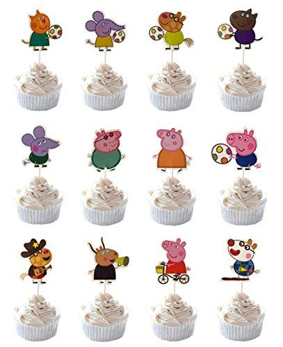 Party Hive 24-Peppa Pig Cupcake Topper für Geburtstag Party Event Decor (Sortierung 3) (Peppa Cupcake Pig Topper)