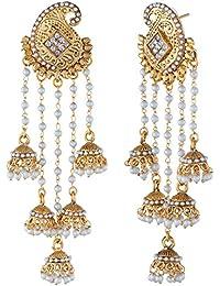 Shining Diva Traditional Jewellery Stylish Fancy Party Wear Pearl Jhumka / Jhumki Earrings For Women & Girls